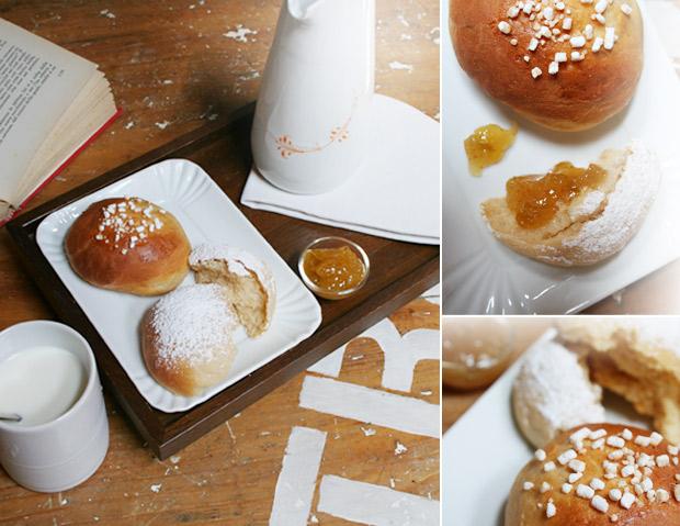 Foto delle brioche servite con marmellata e tazza di latte