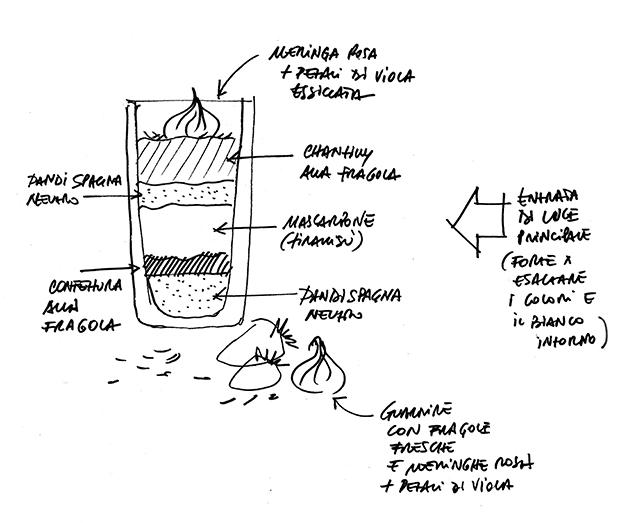 disegno composizione mascarpone fragole e viole