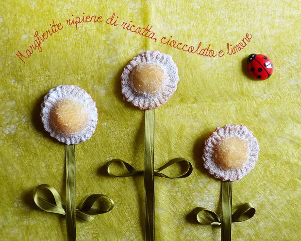 Margherite ripiene di ricotta, cioccolato e limone
